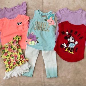 Toddler Girls Lot Of Shirts Shorts Pants Size 2T
